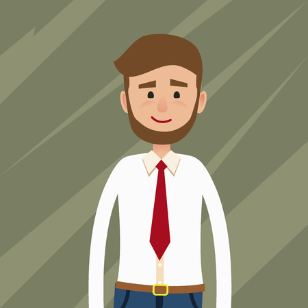 Bearded Young Man Flat Vector Character