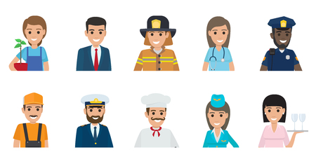 Illustration for Gardener with plant, businessman, brave firefighter, doctor, African policeman, plumber, Italian chef, stewardess and waitress vector illustrations. - Royalty Free Image