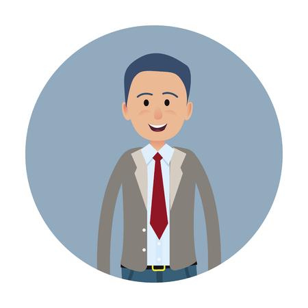 Happy male entrepreneur icon.