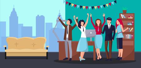 Illustration pour Corporate Party in Office Vector Illustration - image libre de droit