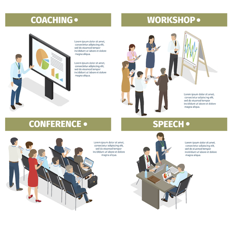 Illustration pour Coaching new businesspeople, workshop from successful entrepreneurs, conference to share experience and make motivating speech vector illustration. - image libre de droit