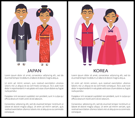 Japan and korea nationalities, set of posters with two nations and informational text below on vector illustration isolated on white with text