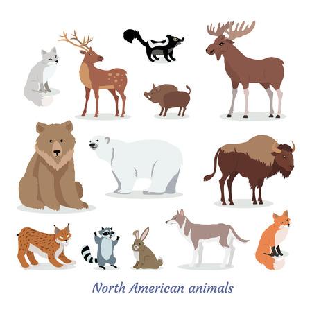 Ilustración de North American Animal Cartoon Flat Icons Set illustration. - Imagen libre de derechos