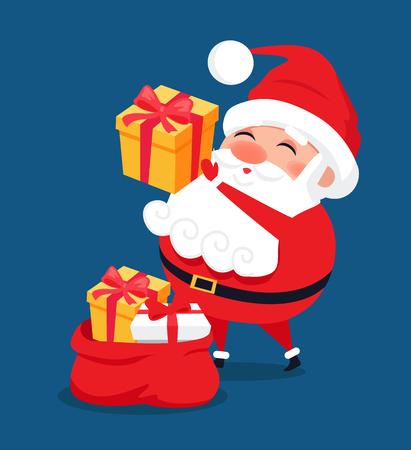 Ilustración de Merry Santa Claus put presents into red bag, Father Christmas get ready to winter holidays, vector illustration postcard isolated on blue background - Imagen libre de derechos