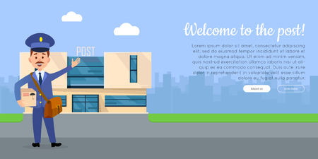Welcome to the post cartoon web banner. Postman in uniform with mailbag holding parcel with post office on background flat vector illustration. Horizontal concept for mail or post company landing page