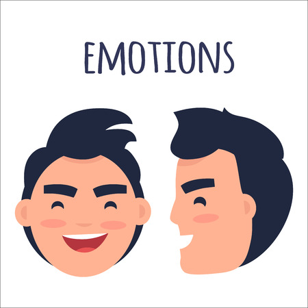 Men Positive Emotions Flat Vector Concept
