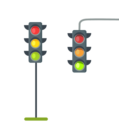 Illustration pour Icons of Traffic Lights Isolated Vector on White - image libre de droit