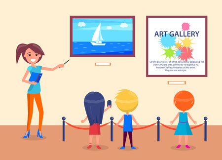 Illustration pour Art gallery excursion for school kids back view with guide. Woman pointing on sea with sailboat, children listen attentively to teacher vector illustration - image libre de droit