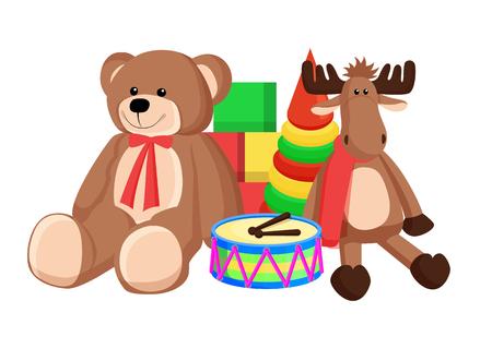 Ilustración de Toys Set Santa Claus Factory Vector Illustration - Imagen libre de derechos