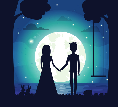 Illustration pour Silhouette of couple at night, clouds and stars, bright full moon and river, trees and swing, bunnies and bushes, isolated on vector illustration - image libre de droit