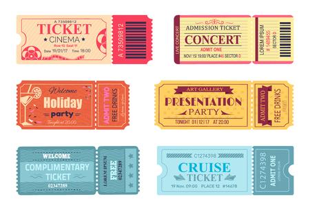 Illustration pour Tickets and Admissions Set Vector Illustration - image libre de droit