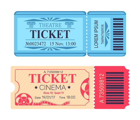 Illustration for Theatre and Cinema Tickets Set with Emblem Icons - Royalty Free Image