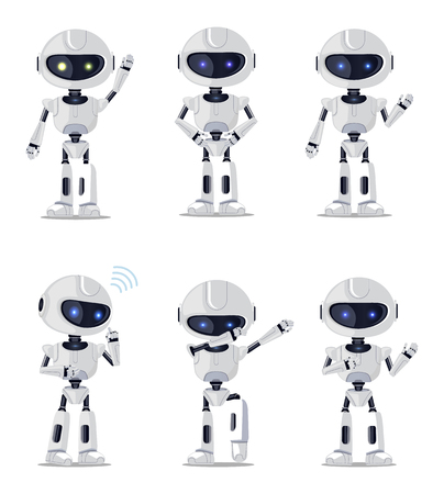 Six Pretty robots Isolated vector illustration