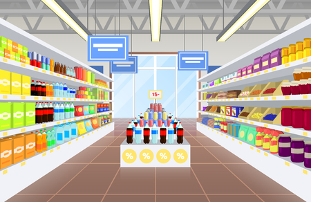 Illustration for Supermarket and Product Poster Vector Illustraiton - Royalty Free Image