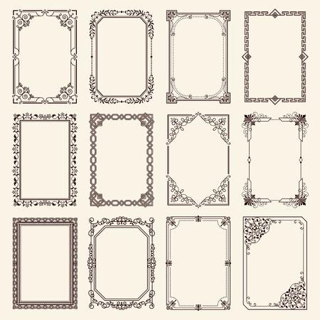 Illustration for Vintage swirly black and white elegant frames set. - Royalty Free Image