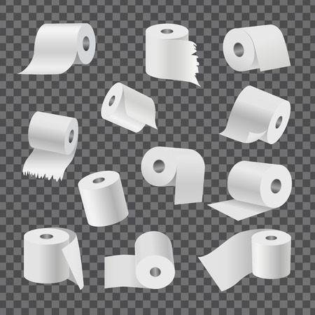 Full rolls of white toilet paper with even and torn edges from all foreshortening isolated vector illustrations set on transparent background.