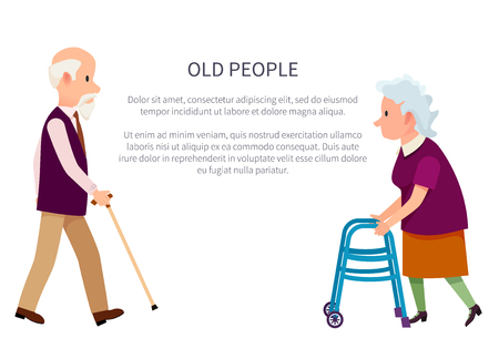 Illustration pour Old people banner with grandpa holding walking stick and grandma with helping walkers vector illustrations isolated on white. Retired people in cartoon style - image libre de droit