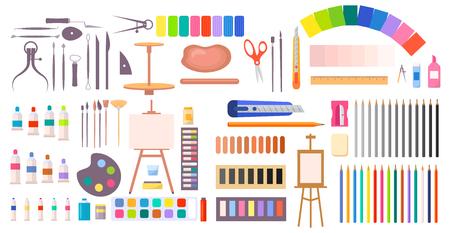 Illustration pour Art supplies vector illustration with icons - image libre de droit