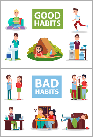 Illustration pour Good and Bad Habits Poster Vector Illustration - image libre de droit