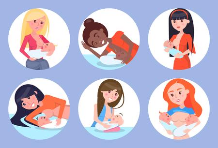 Ilustración de Breastfeeding Mothers and Kids Vector Illustration - Imagen libre de derechos