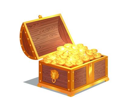 Illustration pour Ancient Gold Coins in Heavy Open Wooden Chest - image libre de droit