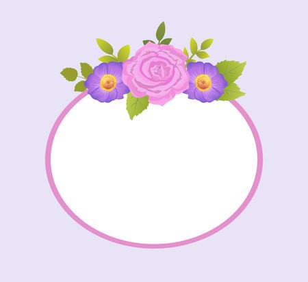 Illustration pour Rose and Purple Daisy Flowers Photo Frame Greeting - image libre de droit