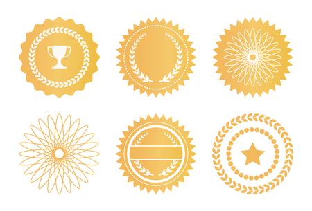 Illustration pour Set Water Marks Golden Seals Star Laurel Branches - image libre de droit