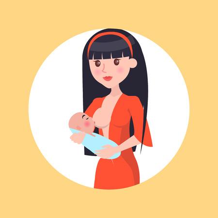 Ilustración de Brunette Young Mother Feed her Newborn Baby Breast - Imagen libre de derechos