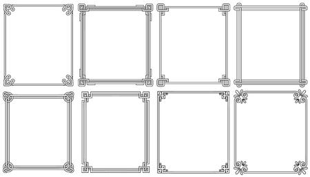 Ilustración de Ornamental Frames with Corners in Different Style - Imagen libre de derechos