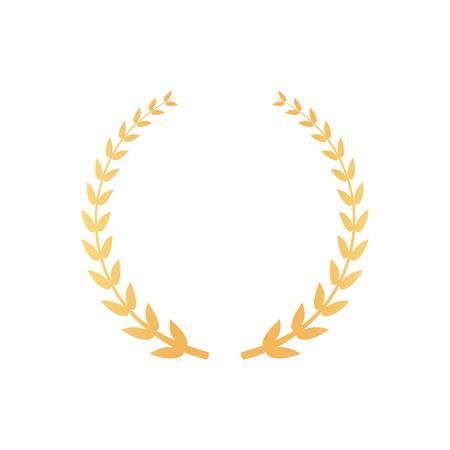 Ilustración de Emblem Made of Laurel Branches, Golden Leaves Icon - Imagen libre de derechos