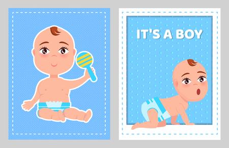 Illustration pour Its a Boy Poster with Toddler Infant Diaper Crawls - image libre de droit