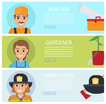 People professions web banners set. Builder, gardener and firefighter cartoon characters with instrument or implement flat vector. People occupations horizontal illustrations for job vacancy web page