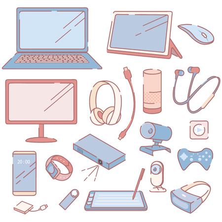 Illustration pour Modern Electronic Devices and Accessories Set - image libre de droit