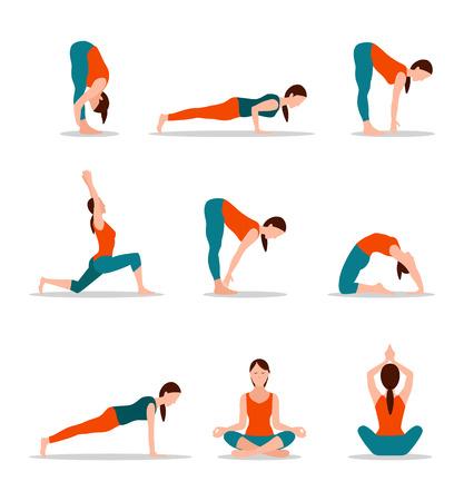 Foto de Yoga Positions Collection Vector Illustration - Imagen libre de derechos