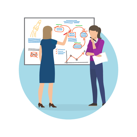 Women Whiteboard Strategy Up Vector Illustration