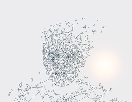 Illustration for Human Made of Lines, Grey Vector Illustration - Royalty Free Image