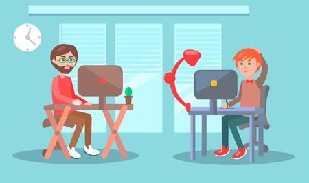 Illustration pour Office Workers or Freelancers at Work Vector - image libre de droit