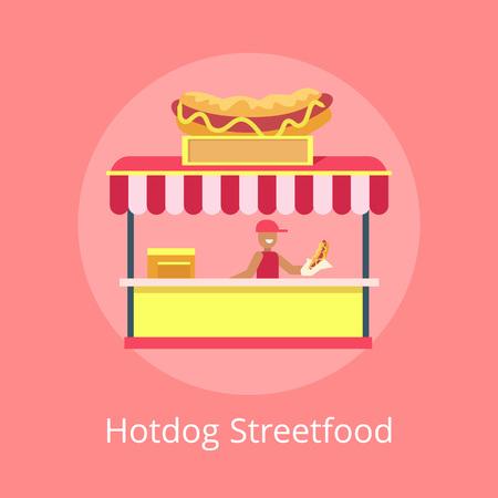 Hotdog Street Food Kiosk, Vector Illustration