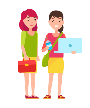 Illustrazione per Two students girls in cartoon style smiling, woman with notebook and refreshing drink, with bag over shoulder, leather case in hands pretty girls - Immagini Royalty Free