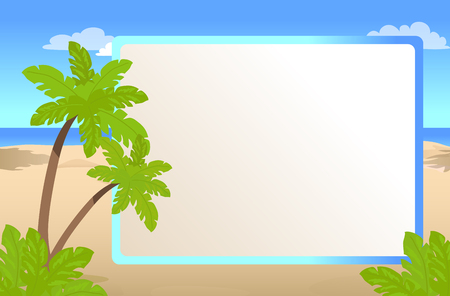 Illustration pour Photo frame with place for your text, palms on sunny beach, greeting card for vacation vector illustration - image libre de droit