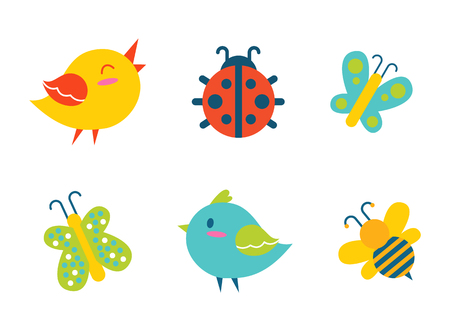 Creatures collection birds and ladybug, bee and butterflies, with colorful wings. creatures set, vector illustration isolated on white background