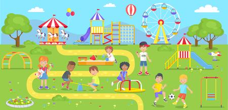 Ilustración de Happy kids spend time on childrens playground in city park. Vector illustration of adorable kindergarten characters walking outdoors in amusement center - Imagen libre de derechos