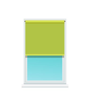 Plastic Window and Stylish Textile Green Jalousie