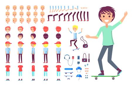 Ilustración de Smiling skateboarder icon color vector illustration, happy boy on skateboard, skateboarder accessories, character constructor, red cap, legs and hands - Imagen libre de derechos