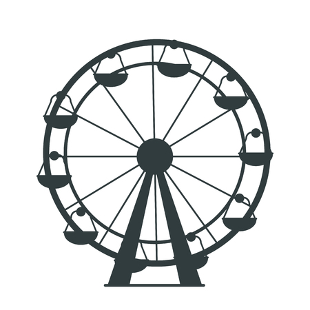 Ilustración de Black silhouette of Ferris Wheel with lots of colorless cabs for amusement park or children playground. Isolated vector illustration on white background - Imagen libre de derechos