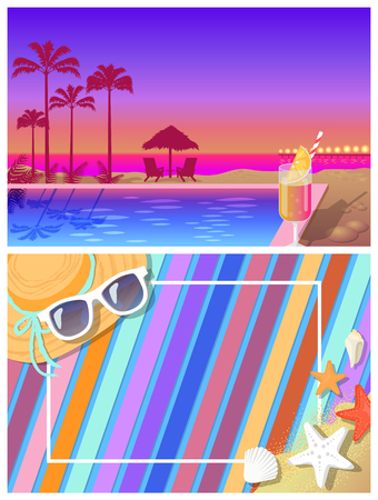 Illustration pour Summer landscape and beach coposition. Pool and cocktail with palms behind at sunset and blanket on sand with summer accessories vector illustrations. - image libre de droit