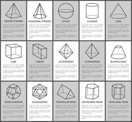Ilustración de Figures set, sphere and blunted cone, cube and cuboid, vector illustration, square and hexagonal pyramids, triangular prism, cylinder and cone figure - Imagen libre de derechos