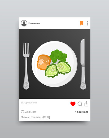 Illustration pour Dish Posted on Instagram, Vector Illustration - image libre de droit