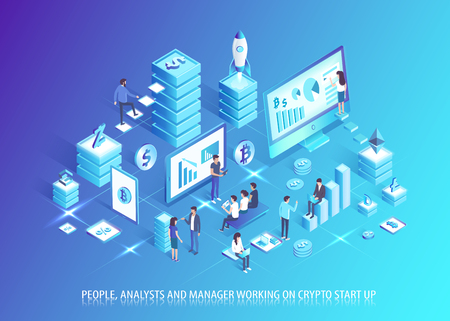 Illustration pour Analysts and managers work on crypto startup. People plan business based on cryptocurrency. Communication development in IT domain vector illustration. - image libre de droit