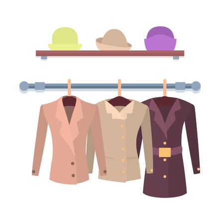 04f996c54bda Set of women jackets outer garment and shelf with hats, shop window design  coats hanging